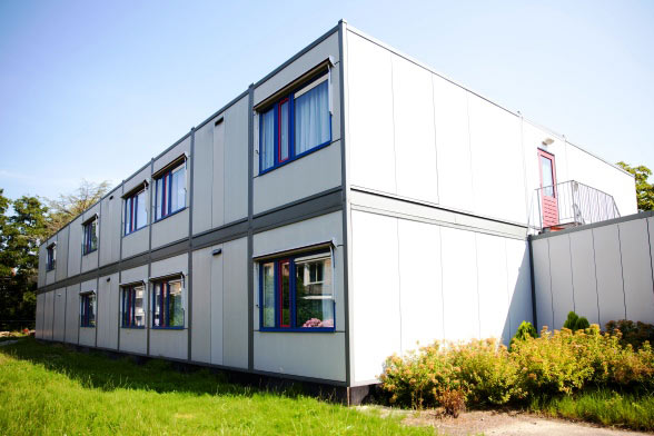 Tijdelijk gebouw opvang asielzoekers in Duitsland